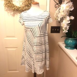 Anthropologie Maeve Navy Striped Midi Dress